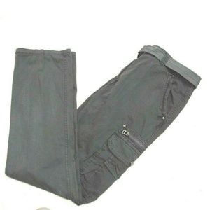 Men's Belted Cargo Pants w/Zipper Pockets Grey